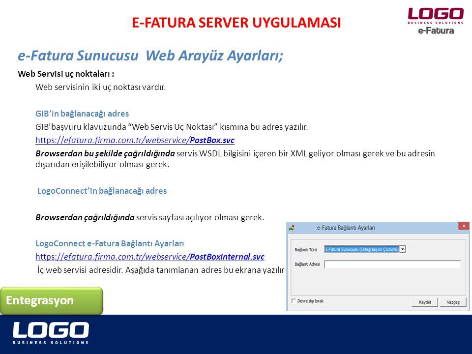 """Web Servisi uç noktaları : Web servisinin iki uç noktası vardır. GIB'in bağlanacağı adres GIB'başvuru klavuzunda """"Web Servis Uç Noktası"""" kısmına bu ad"""