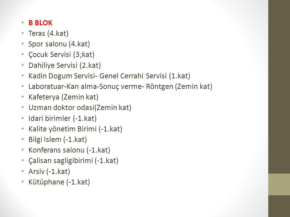 • B BLOK • Teras (4.kat) • Spor salonu (4.kat) • Çocuk Servisi (3;kat) • Dahiliye Servisi (2.kat) • Kadin Dogum Servisi- Genel Cerrahi Servisi (1.kat)