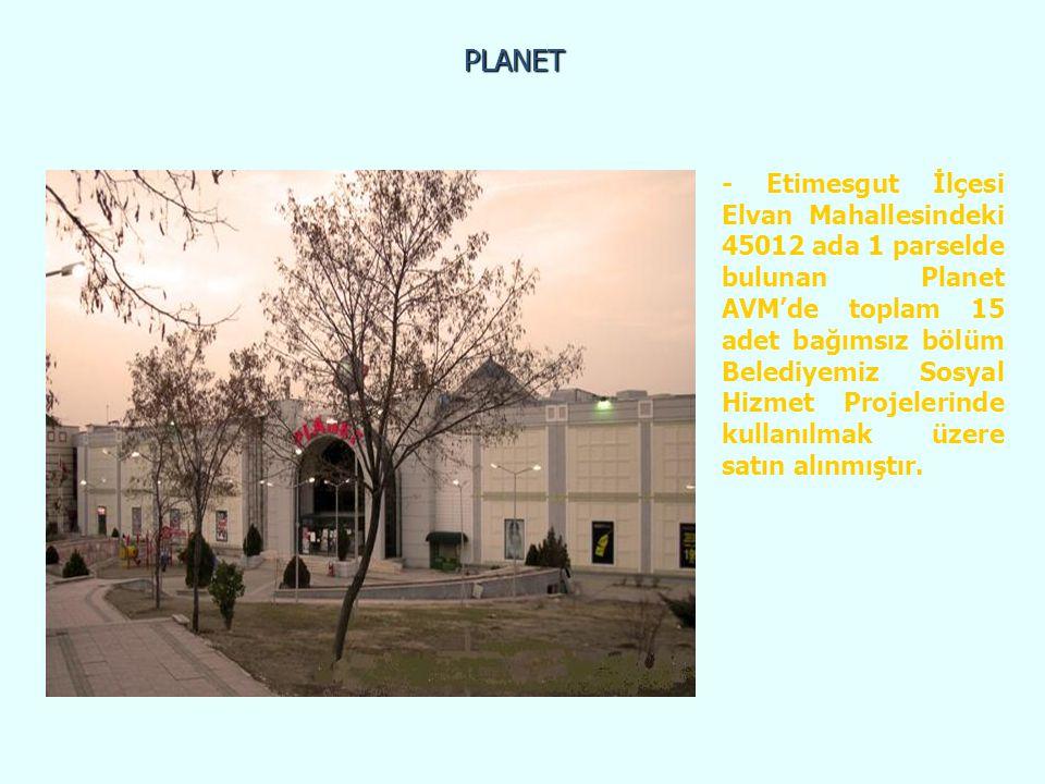PLANET - Etimesgut İlçesi Elvan Mahallesindeki 45012 ada 1 parselde bulunan Planet AVM'de toplam 15 adet bağımsız bölüm Belediyemiz Sosyal Hizmet Proj