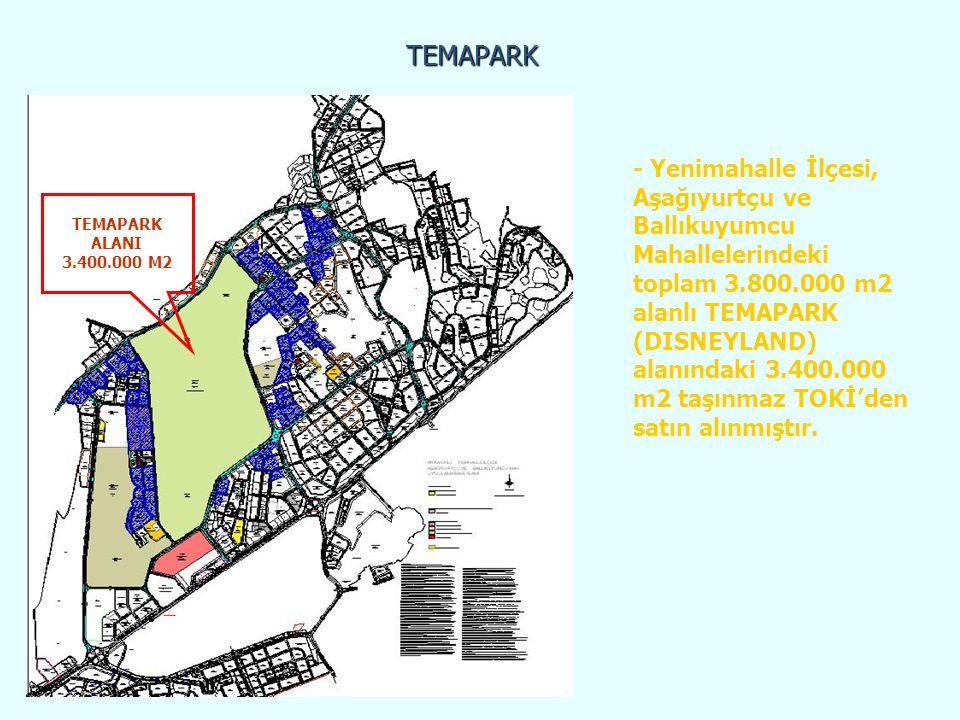 TEMAPARK TEMAPARK ALANI 3.400.000 M2 - Yenimahalle İlçesi, Aşağıyurtçu ve Ballıkuyumcu Mahallelerindeki toplam 3.800.000 m2 alanlı TEMAPARK (DISNEYLAN