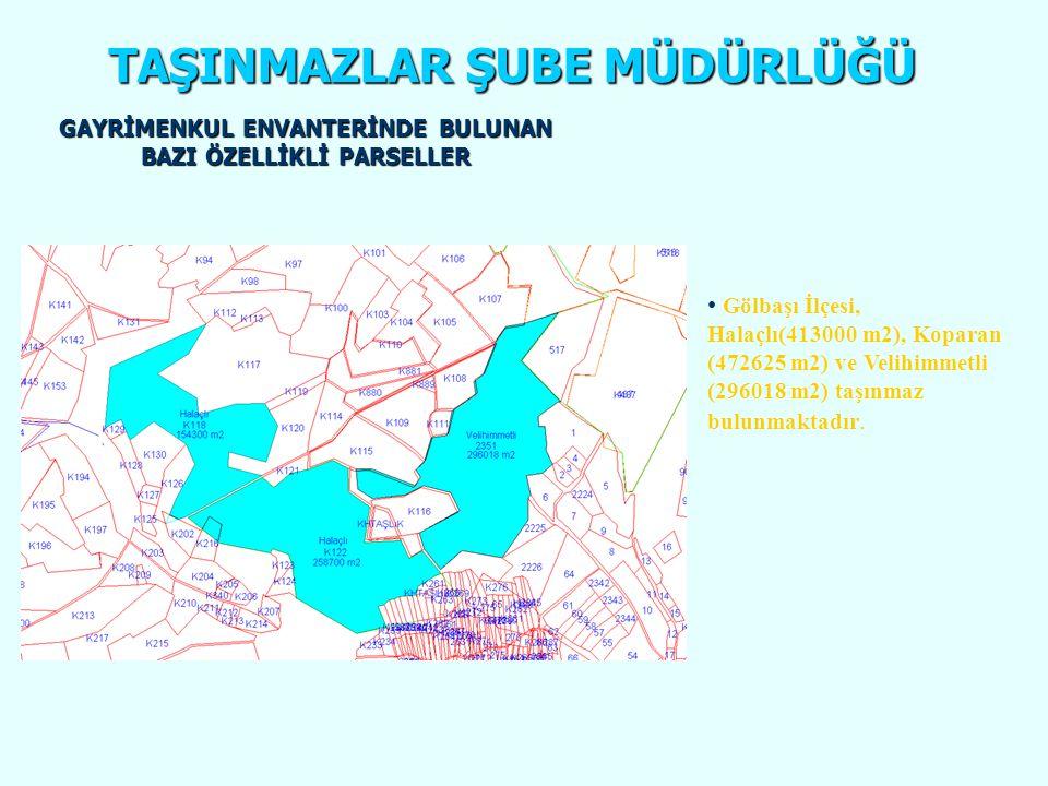 TAŞINMAZLAR ŞUBE MÜDÜRLÜĞÜ • Gölbaşı İlçesi, Halaçlı(413000 m2), Koparan (472625 m2) ve Velihimmetli (296018 m2) taşınmaz bulunmaktadır. Halaçlı 118,