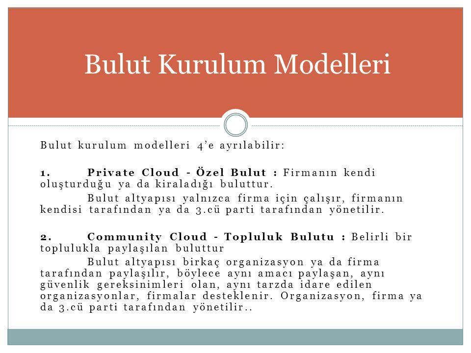 Bulut kurulum modelleri 4'e ayrılabilir: 1.Private Cloud - Özel Bulut : Firmanın kendi oluşturduğu ya da kiraladığı buluttur. Bulut altyapısı yalnızca