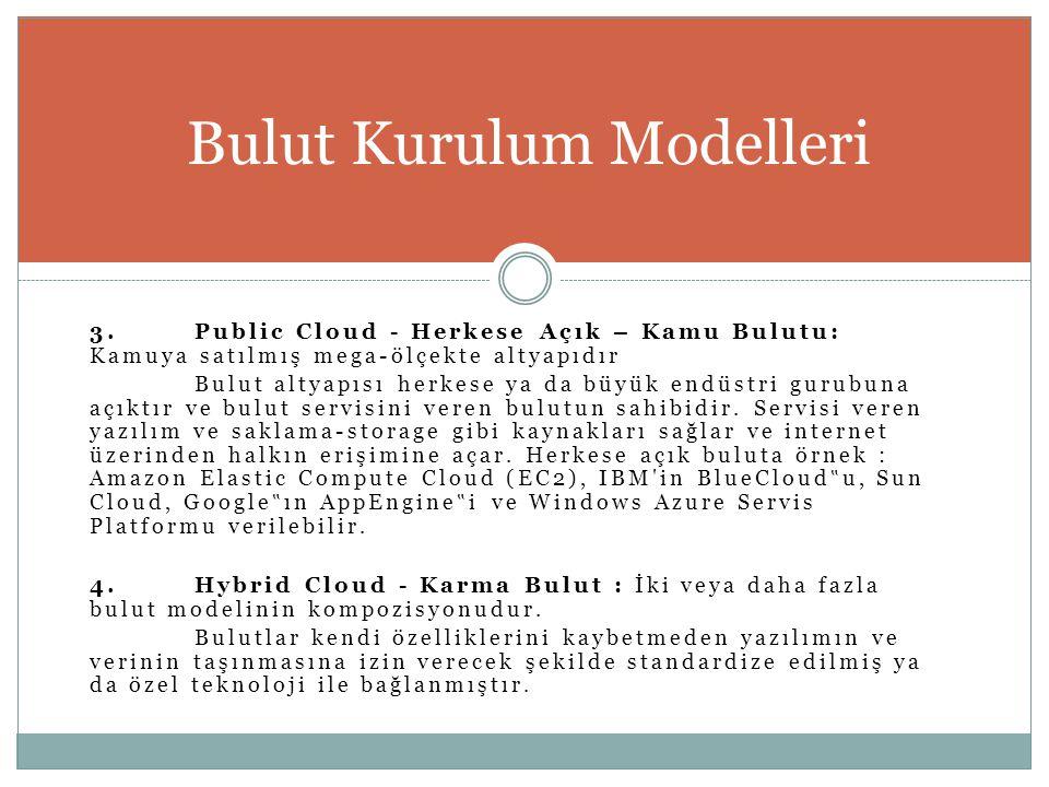 3.Public Cloud - Herkese Açık – Kamu Bulutu: Kamuya satılmış mega-ölçekte altyapıdır Bulut altyapısı herkese ya da büyük endüstri gurubuna açıktır ve