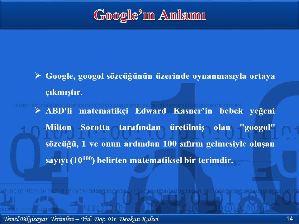  Google, googol sözcüğünün üzerinde oynanmasıyla ortaya çıkmıştır.  ABD'li matematikçi Edward Kasner'in bebek yeğeni Milton Sorotta tarafından üreti