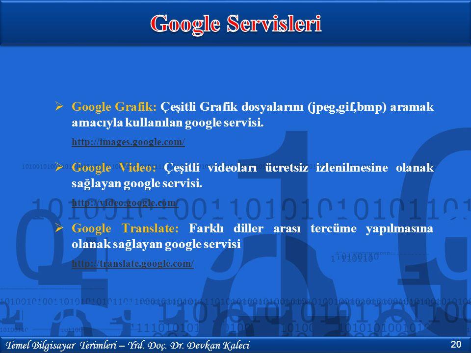  Google Grafik: Çeşitli Grafik dosyalarını (jpeg,gif,bmp) aramak amacıyla kullanılan google servisi. http://images.google.com/  Google Video: Çeşitl