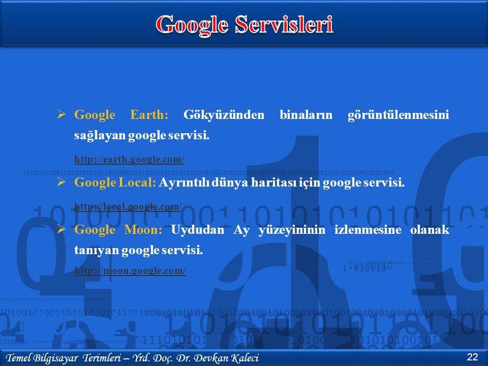  Google Earth: Gökyüzünden binaların görüntülenmesini sağlayan google servisi. http://earth.google.com/  Google Local: Ayrıntılı dünya haritası için