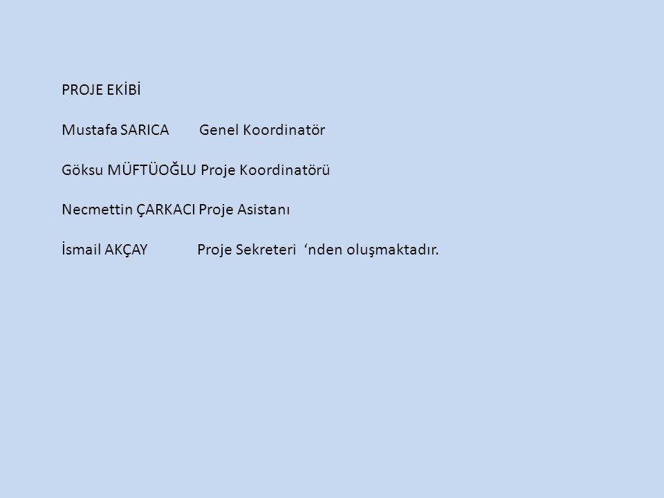 PROJE EKİBİ Mustafa SARICA Genel Koordinatör Göksu MÜFTÜOĞLU Proje Koordinatörü Necmettin ÇARKACI Proje Asistanı İsmail AKÇAY Proje Sekreteri 'nden oluşmaktadır.
