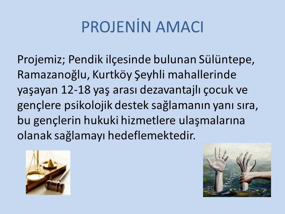 PROJENİN AMACI Projemiz; Pendik ilçesinde bulunan Sülüntepe, Ramazanoğlu, Kurtköy Şeyhli mahallerinde yaşayan 12-18 yaş arası dezavantajlı çocuk ve gençlere psikolojik destek sağlamanın yanı sıra, bu gençlerin hukuki hizmetlere ulaşmalarına olanak sağlamayı hedeflemektedir.