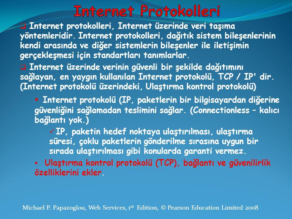  Internet protokolleri, Internet üzerinde veri taşıma yöntemleridir. Internet protokolleri, dağıtık sistem bileşenlerinin kendi arasında ve diğer sis