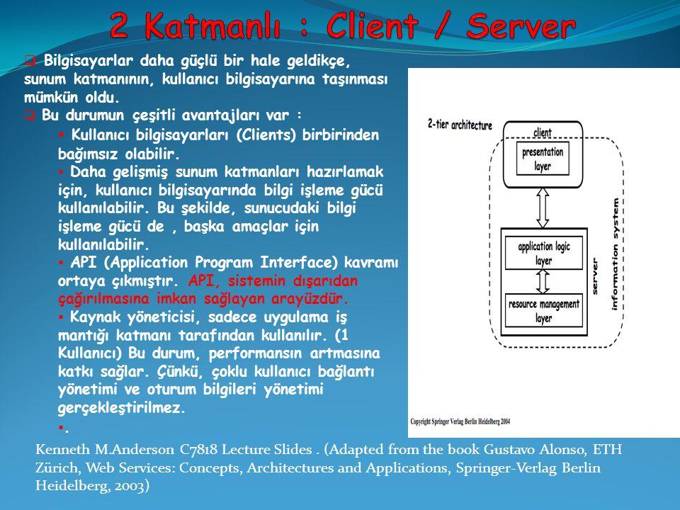  Client/Server sistemleri servis kavramını tanıtmıştır.