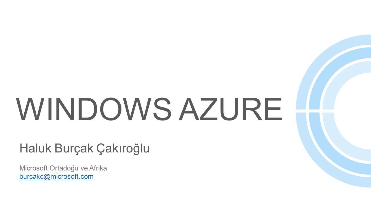 WINDOWS AZURE Haluk Burçak Çakıroğlu Microsoft Ortadoğu ve Afrika burcakc@microsoft.com