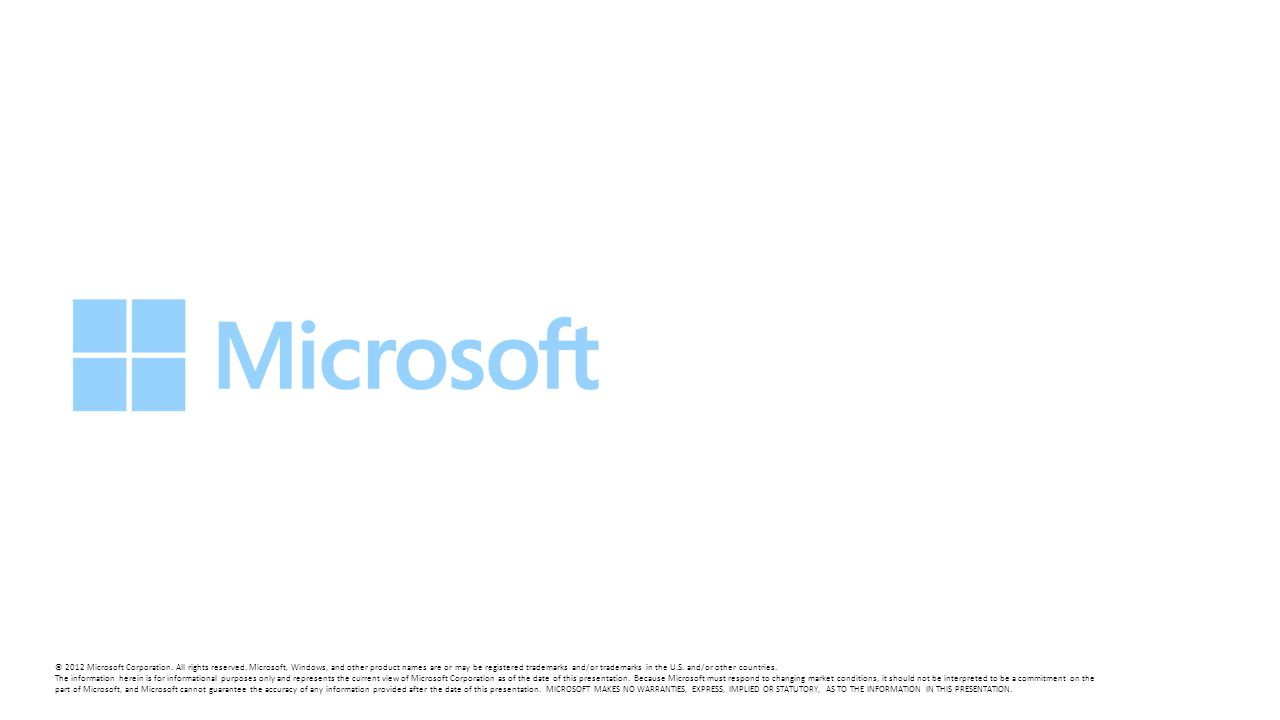 © 2012 Microsoft Corporation. All rights reserved. Microsoft, Windows, and other product names are or may be registered trademarks and/or trademarks i