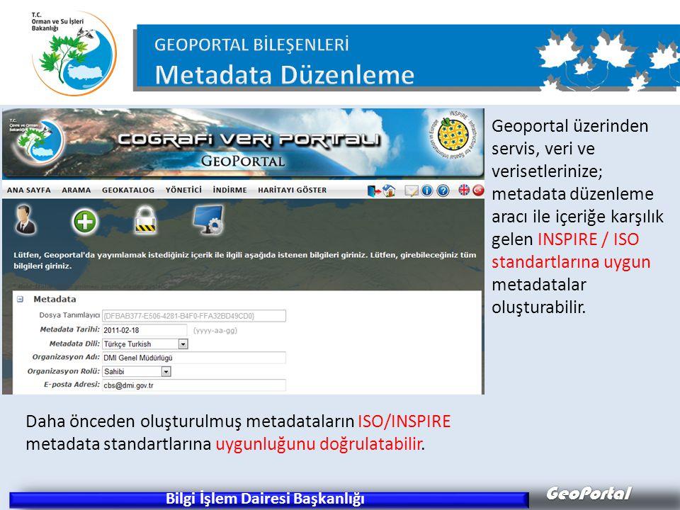 GeoPortal Bilgi İşlem Dairesi Başkanlığı Daha önceden oluşturulmuş metadataların ISO/INSPIRE metadata standartlarına uygunluğunu doğrulatabilir. Geopo