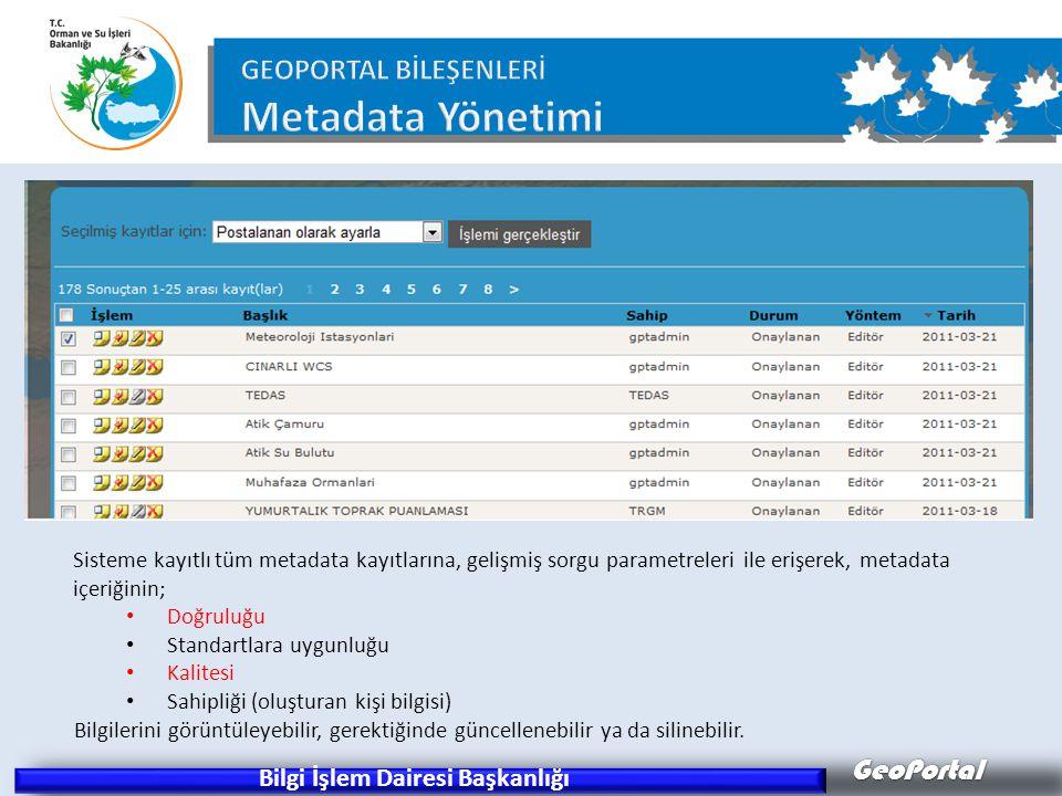 GeoPortal Bilgi İşlem Dairesi Başkanlığı Sisteme kayıtlı tüm metadata kayıtlarına, gelişmiş sorgu parametreleri ile erişerek, metadata içeriğinin; • D