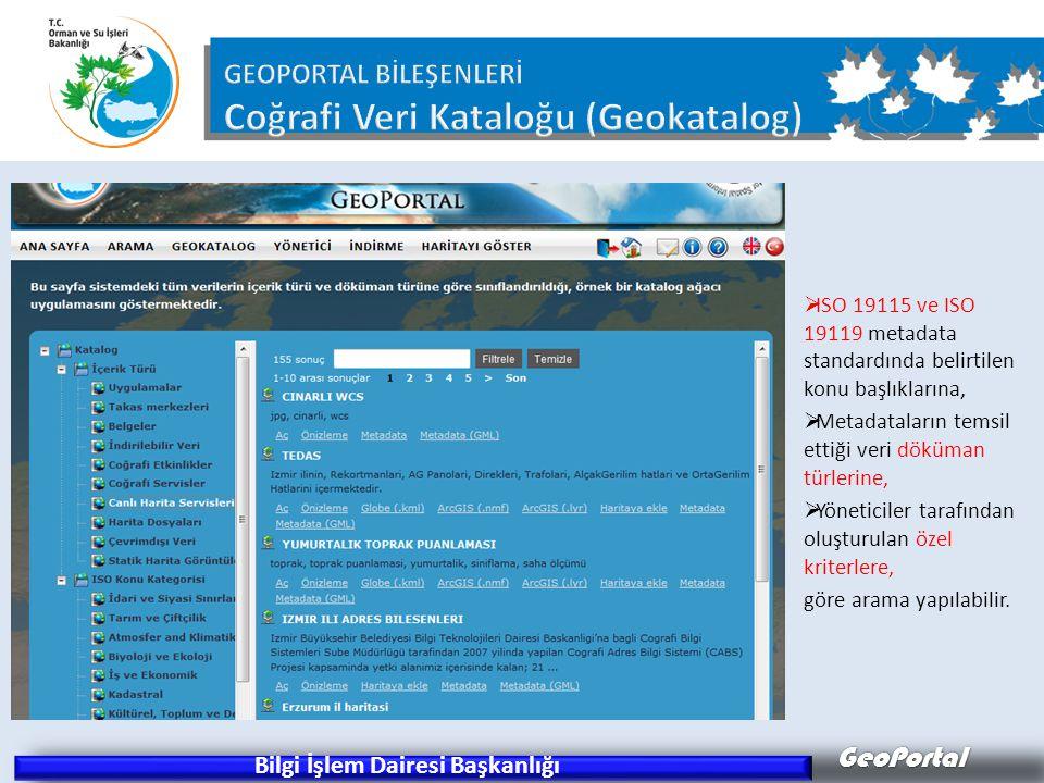 GeoPortal Bilgi İşlem Dairesi Başkanlığı  ISO 19115 ve ISO 19119 metadata standardında belirtilen konu başlıklarına,  Metadataların temsil ettiği ve