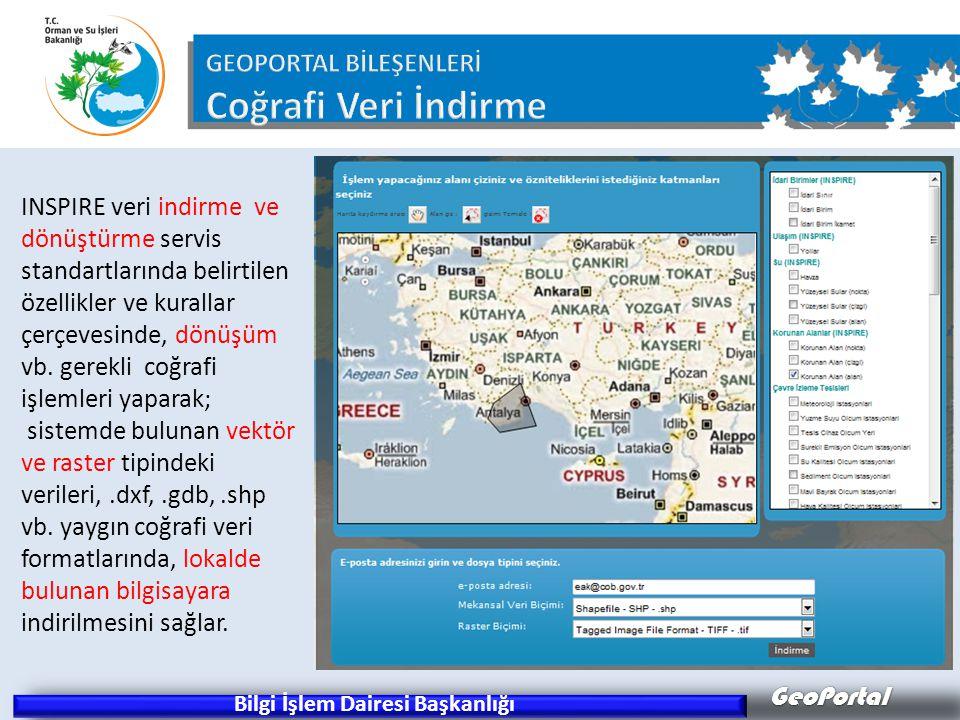 GeoPortal Bilgi İşlem Dairesi Başkanlığı INSPIRE veri indirme ve dönüştürme servis standartlarında belirtilen özellikler ve kurallar çerçevesinde, dön