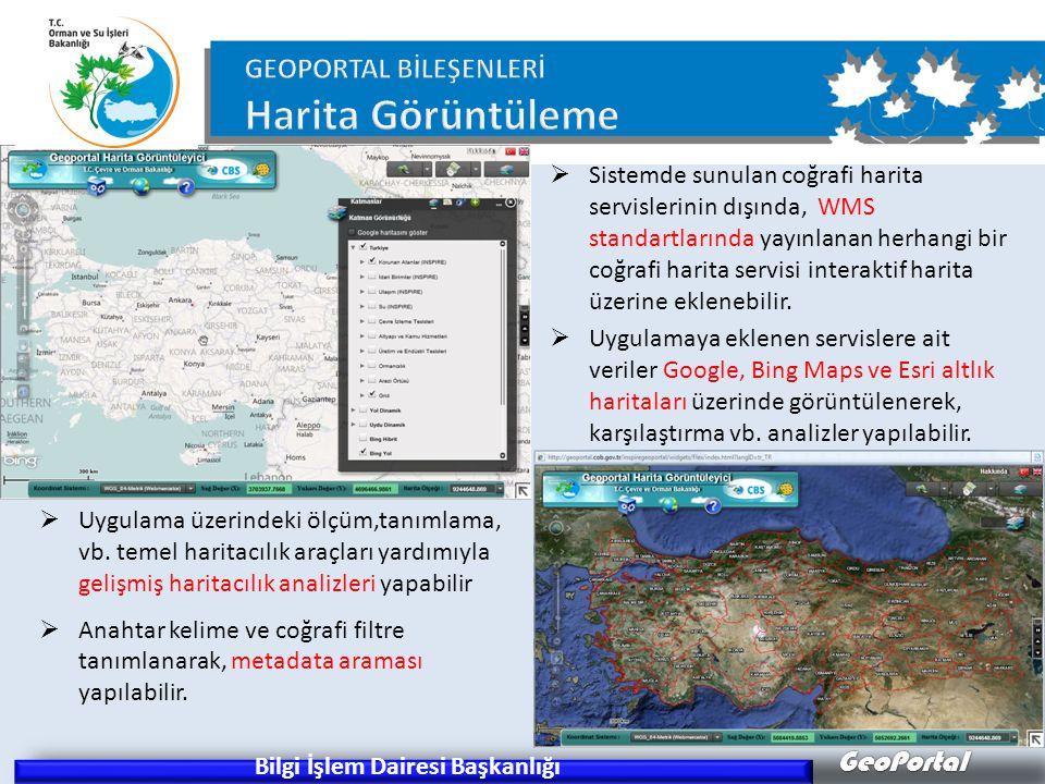 GeoPortal Bilgi İşlem Dairesi Başkanlığı  Uygulama üzerindeki ölçüm,tanımlama, vb. temel haritacılık araçları yardımıyla gelişmiş haritacılık analizl