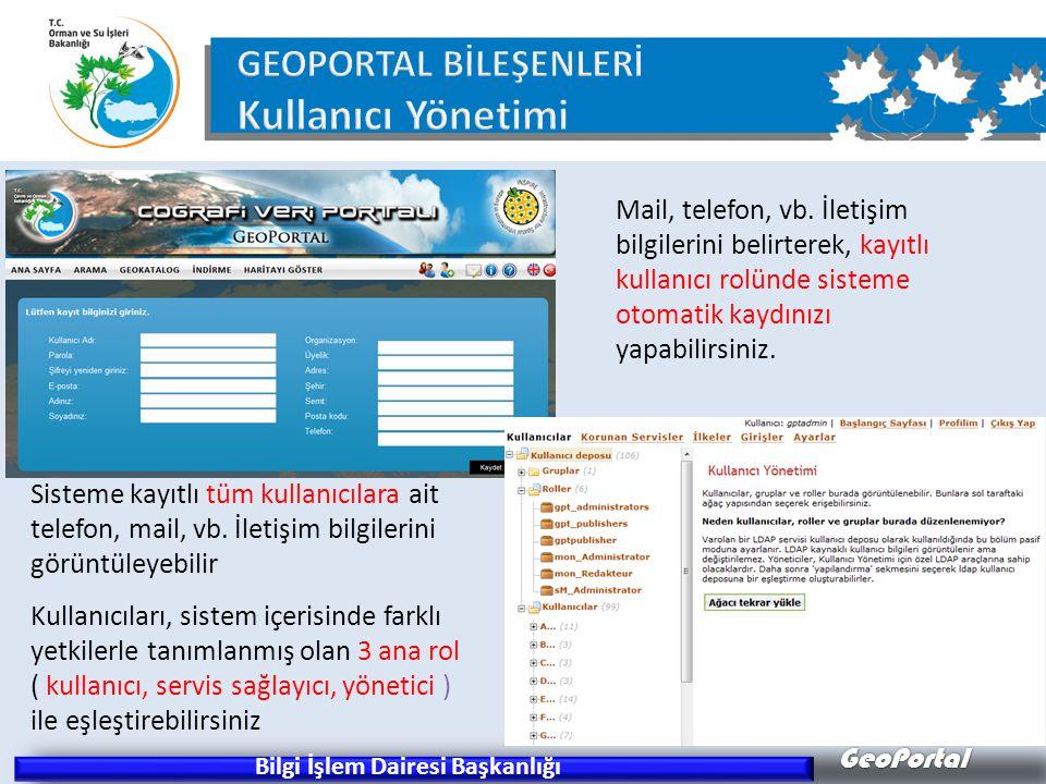 GeoPortal Bilgi İşlem Dairesi Başkanlığı Sisteme kayıtlı tüm kullanıcılara ait telefon, mail, vb. İletişim bilgilerini görüntüleyebilir Kullanıcıları,