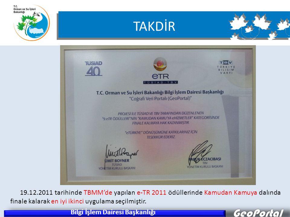 GeoPortal Bilgi İşlem Dairesi Başkanlığı 19.12.2011 tarihinde TBMM'de yapılan e-TR 2011 ödüllerinde Kamudan Kamuya dalında finale kalarak en iyi ikinc