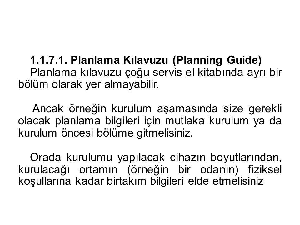 1.1.7.1. Planlama Kılavuzu (Planning Guide) Planlama kılavuzu çoğu servis el kitabında ayrı bir bölüm olarak yer almayabilir. Ancak örneğin kurulum aş