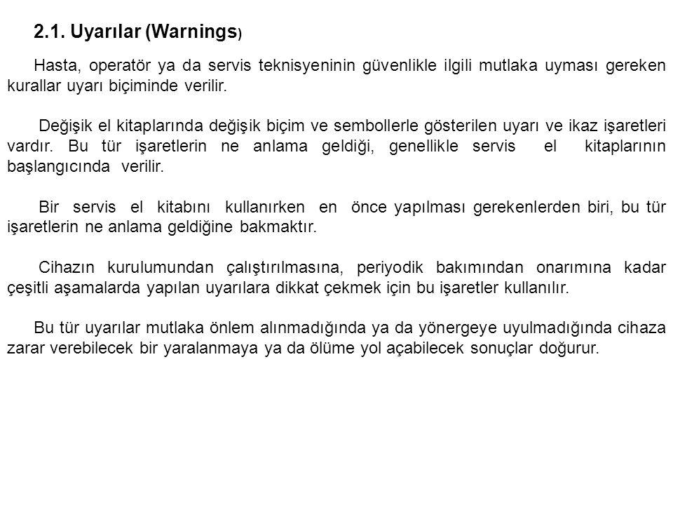 2.1. Uyarılar (Warnings ) Hasta, operatör ya da servis teknisyeninin güvenlikle ilgili mutlaka uyması gereken kurallar uyarı biçiminde verilir. Değişi