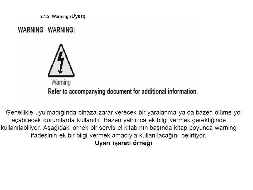 2.1.2. Warning ( Uyarı ) Genellikle uyulmadığında cihaza zarar verecek bir yaralanma ya da bazen ölüme yol açabilecek durumlarda kullanılır. Bazen yal