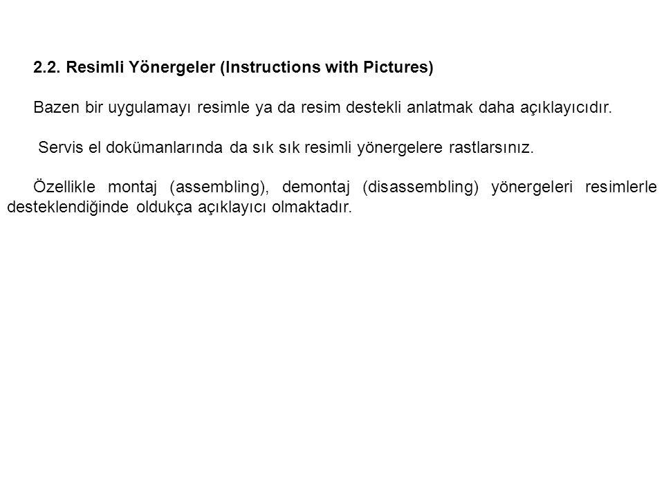 2.2. Resimli Yönergeler (Instructions with Pictures) Bazen bir uygulamayı resimle ya da resim destekli anlatmak daha açıklayıcıdır. Servis el dokümanl
