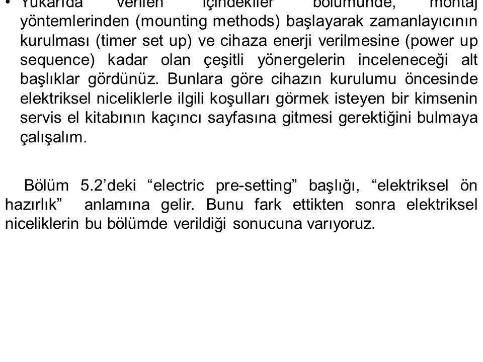 """•Yukarıda verilen """"içindekiler"""" bölümünde, montaj yöntemlerinden (mounting methods) başlayarak zamanlayıcının kurulması (timer set up) ve cihaza enerj"""