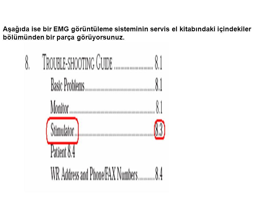 Aşağıda ise bir EMG görüntüleme sisteminin servis el kitabındaki içindekiler bölümünden bir parça görüyorsunuz.