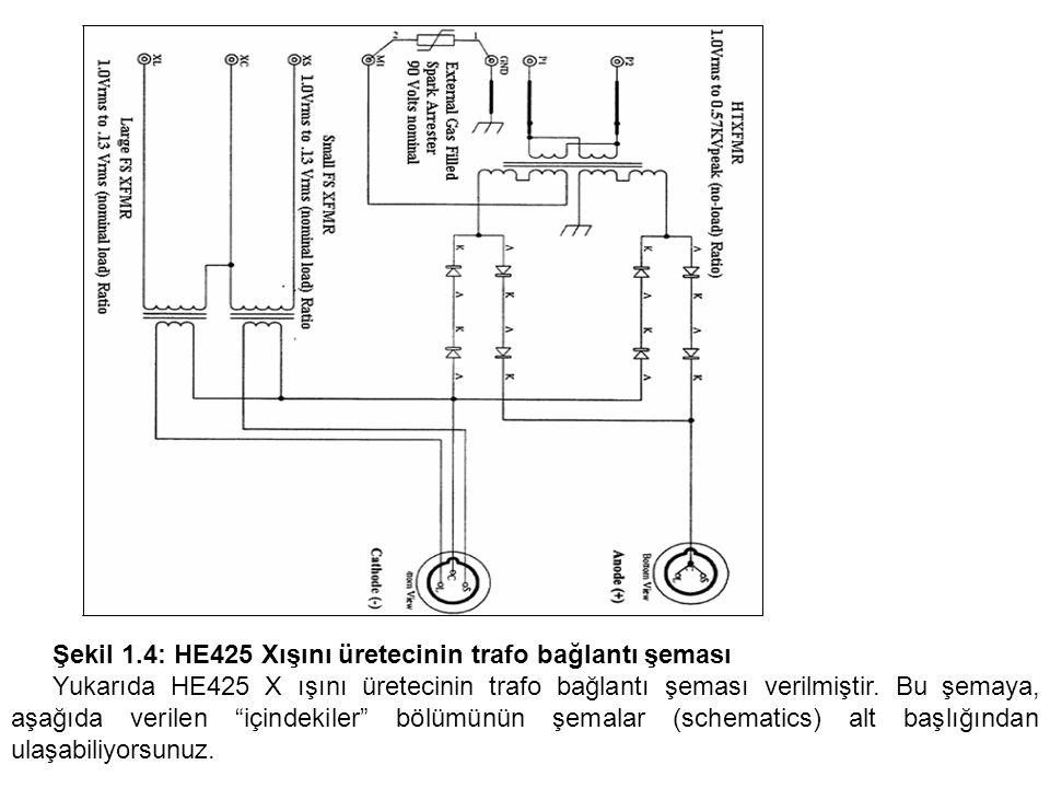 Şekil 1.4: HE425 Xışını üretecinin trafo bağlantı şeması Yukarıda HE425 X ışını üretecinin trafo bağlantı şeması verilmiştir. Bu şemaya, aşağıda veril
