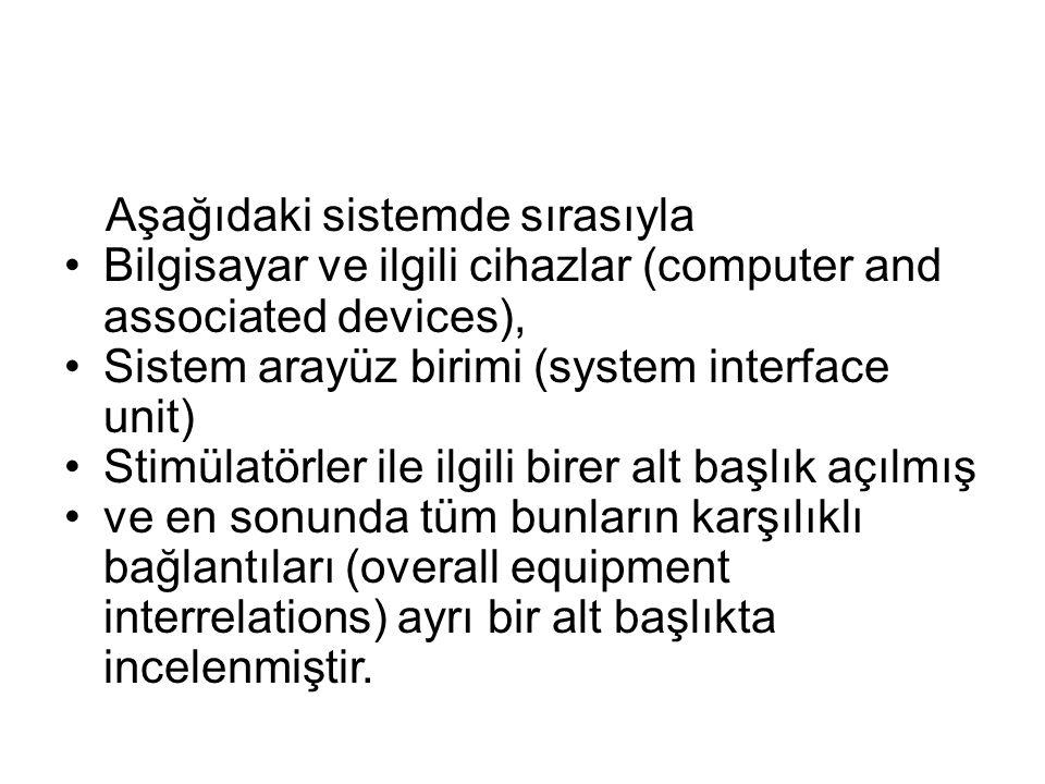 Aşağıdaki sistemde sırasıyla •Bilgisayar ve ilgili cihazlar (computer and associated devices), •Sistem arayüz birimi (system interface unit) •Stimülat