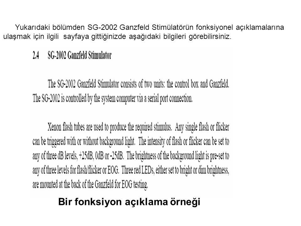 Yukarıdaki bölümden SG-2002 Ganzfeld Stimülatörün fonksiyonel açıklamalarına ulaşmak için ilgili sayfaya gittiğinizde aşağıdaki bilgileri görebilirsin