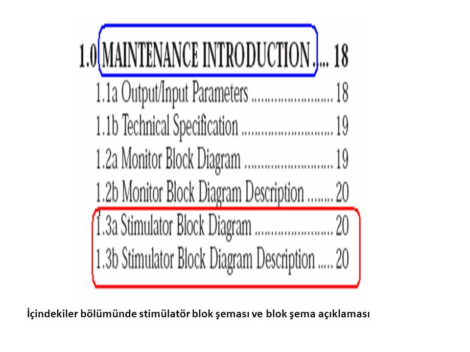 İ İçindekiler bölümünde stimülatör blok şeması ve blok şema açıklaması
