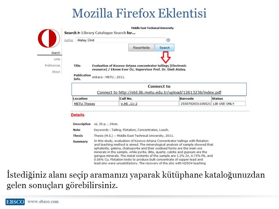 www.ebsco.com Mozilla Firefox Eklentisi İstediğiniz alanı seçip aramanızı yaparak kütüphane kataloğunuzdan gelen sonuçları görebilirsiniz.