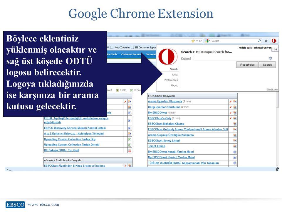 www.ebsco.com Google Chrome Extension Böylece eklentiniz yüklenmiş olacaktır ve sağ üst köşede ODTÜ logosu belirecektir. Logoya tıkladığınızda ise kar