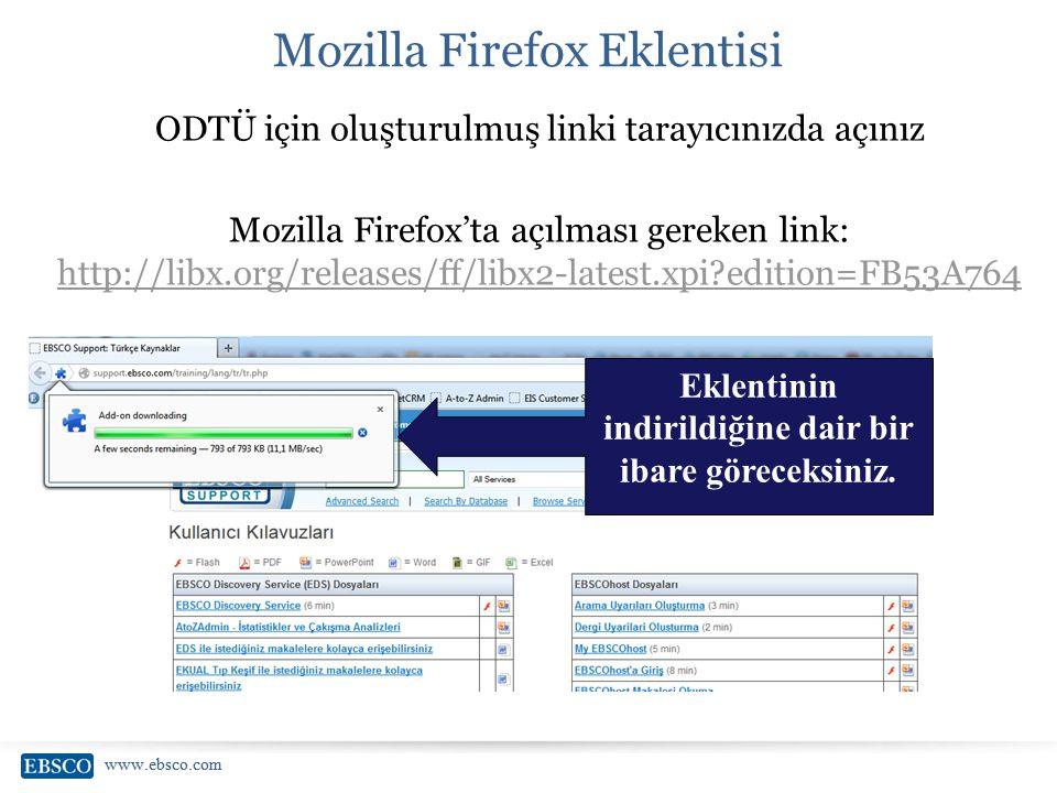 www.ebsco.com Mozilla Firefox Eklentisi ODTÜ için oluşturulmuş linki tarayıcınızda açınız Mozilla Firefox'ta açılması gereken link: http://libx.org/re
