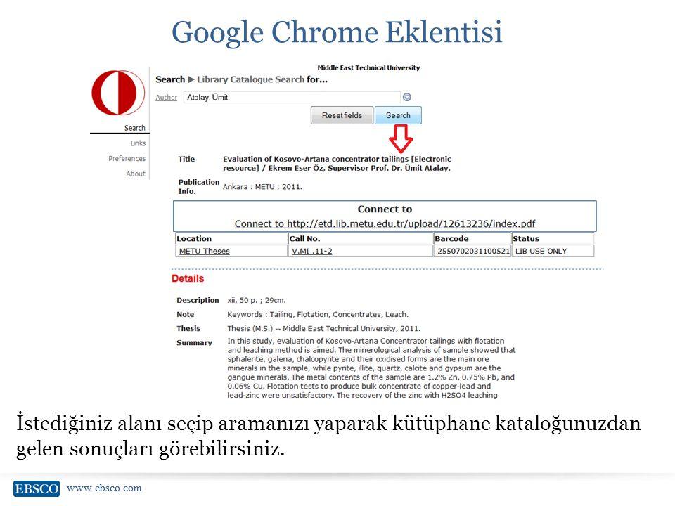 www.ebsco.com Google Chrome Eklentisi İstediğiniz alanı seçip aramanızı yaparak kütüphane kataloğunuzdan gelen sonuçları görebilirsiniz.
