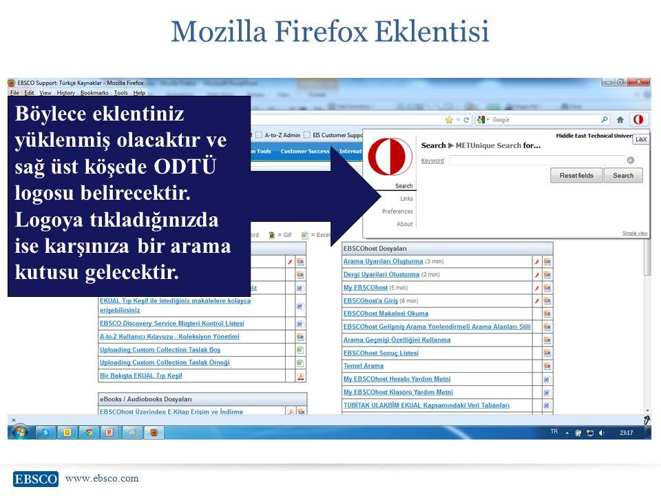 www.ebsco.com Mozilla Firefox Eklentisi Böylece eklentiniz yüklenmiş olacaktır ve sağ üst köşede ODTÜ logosu belirecektir. Logoya tıkladığınızda ise k