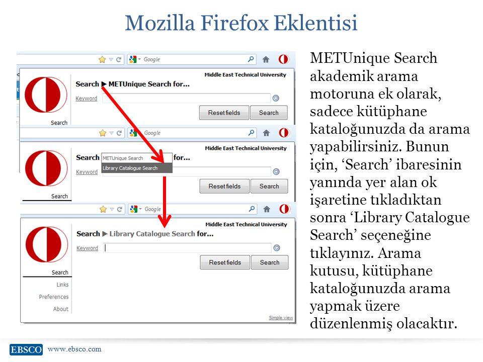www.ebsco.com Mozilla Firefox Eklentisi METUnique Search akademik arama motoruna ek olarak, sadece kütüphane kataloğunuzda da arama yapabilirsiniz. Bu
