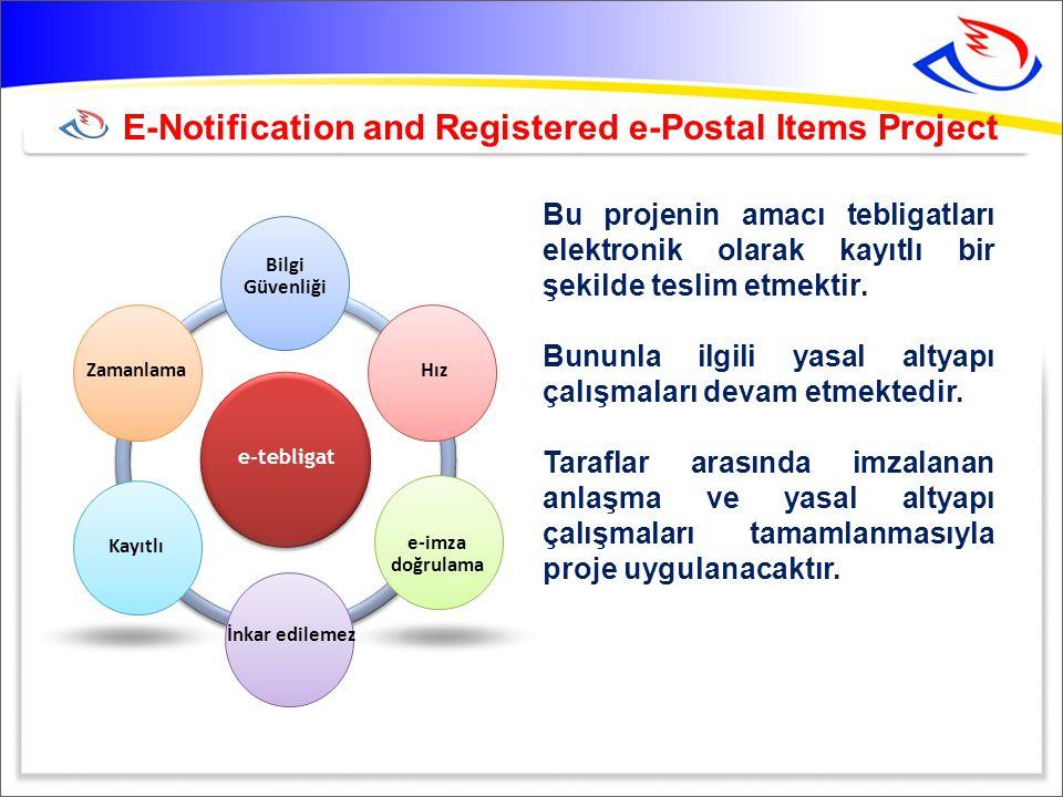 E-Notification and Registered e-Postal Items Project Bu projenin amacı tebligatları elektronik olarak kayıtlı bir şekilde teslim etmektir.