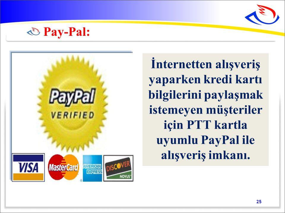 İnternetten alışveriş yaparken kredi kartı bilgilerini paylaşmak istemeyen müşteriler için PTT kartla uyumlu PayPal ile alışveriş imkanı.