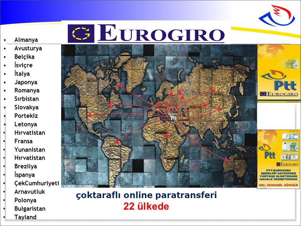 •Almanya •Avusturya •Belçika •İsviçre •İtalya •Japonya •Romanya •Sırbistan •Slovakya •Portekiz •Letonya • Hırvatistan • Fransa • Yunanistan • Hırvatistan • Brezilya • İspanya • ÇekCumhuriyeti • Arnavutluk • Polonya • Bulgaristan • Tayland çoktaraflı online paratransferi 22 ülkede