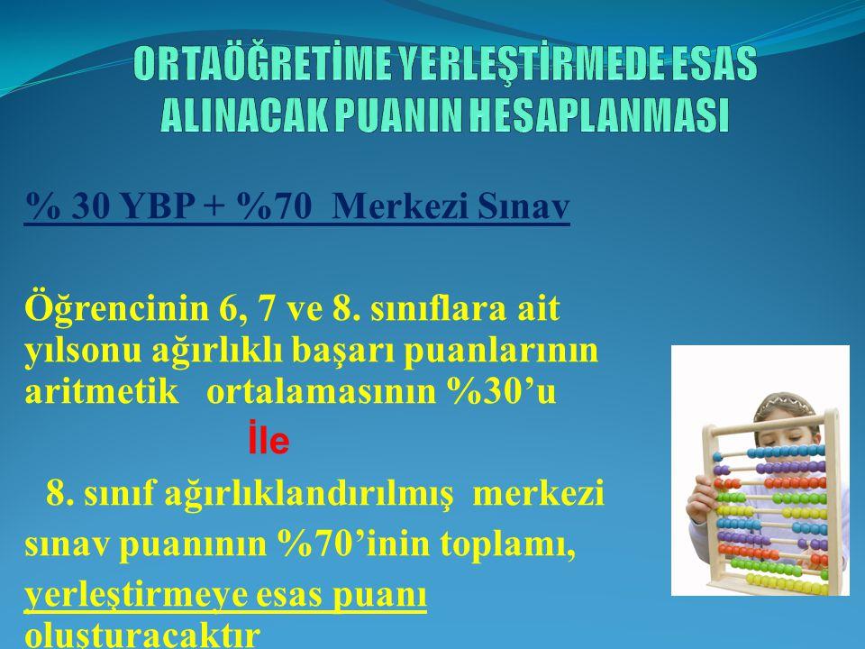 % 30 YBP + %70 Merkezi Sınav Öğrencinin 6, 7 ve 8.