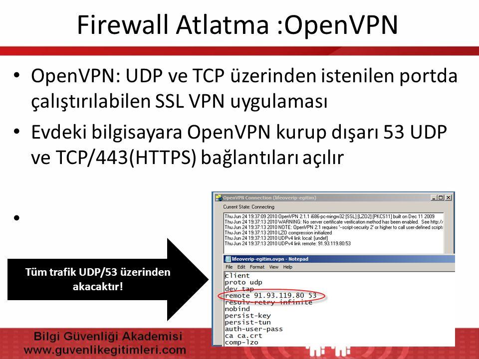 Firewall Atlatma :OpenVPN • OpenVPN: UDP ve TCP üzerinden istenilen portda çalıştırılabilen SSL VPN uygulaması • Evdeki bilgisayara OpenVPN kurup dışa
