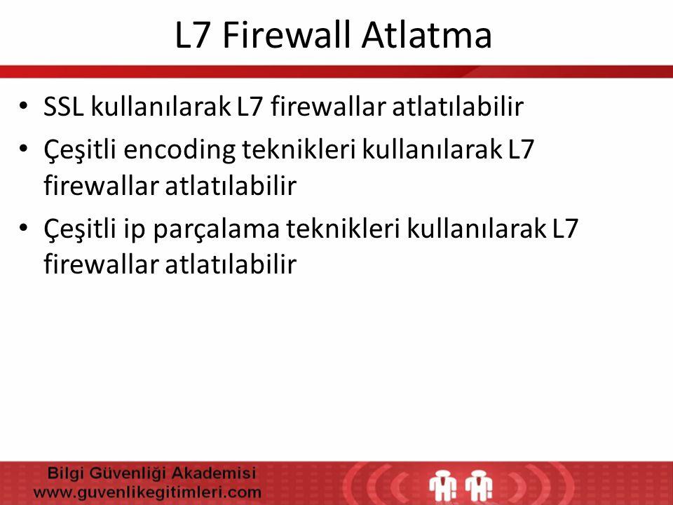 L7 Firewall Atlatma • SSL kullanılarak L7 firewallar atlatılabilir • Çeşitli encoding teknikleri kullanılarak L7 firewallar atlatılabilir • Çeşitli ip