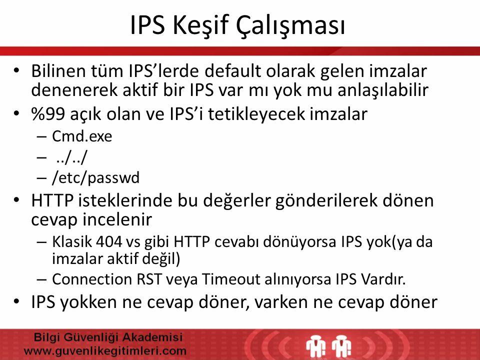 IPS Keşif Çalışması • Bilinen tüm IPS'lerde default olarak gelen imzalar denenerek aktif bir IPS var mı yok mu anlaşılabilir • %99 açık olan ve IPS'i