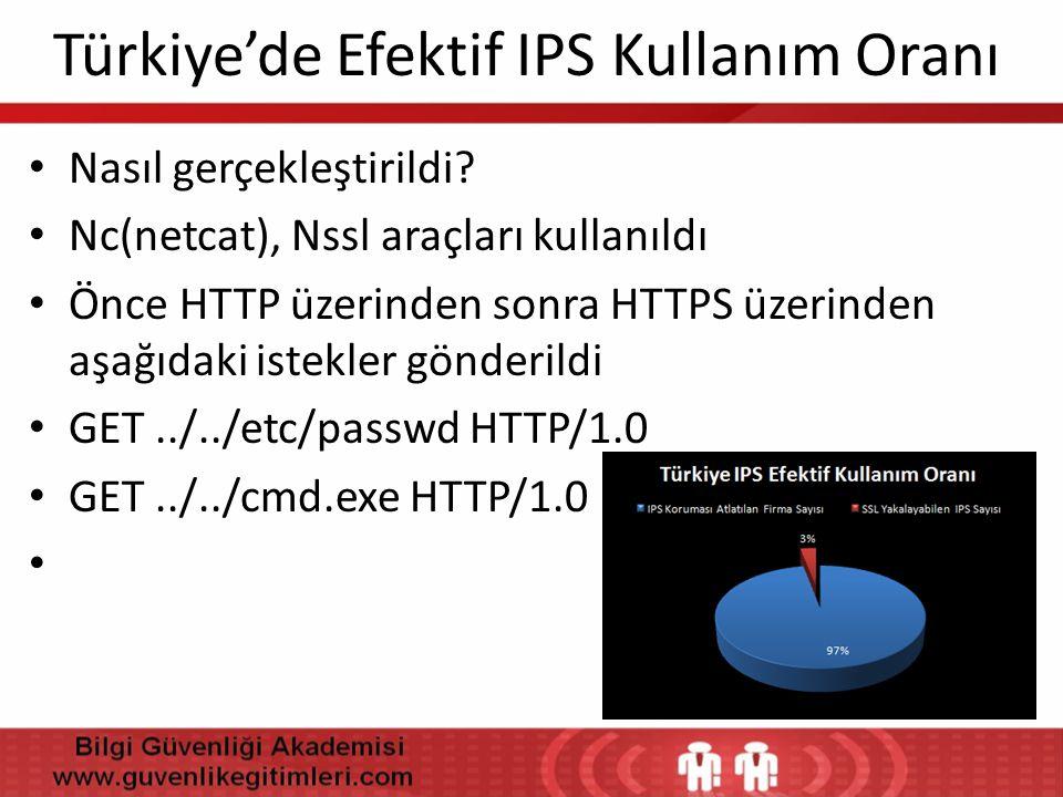 Türkiye'de Efektif IPS Kullanım Oranı • Nasıl gerçekleştirildi? • Nc(netcat), Nssl araçları kullanıldı • Önce HTTP üzerinden sonra HTTPS üzerinden aşa