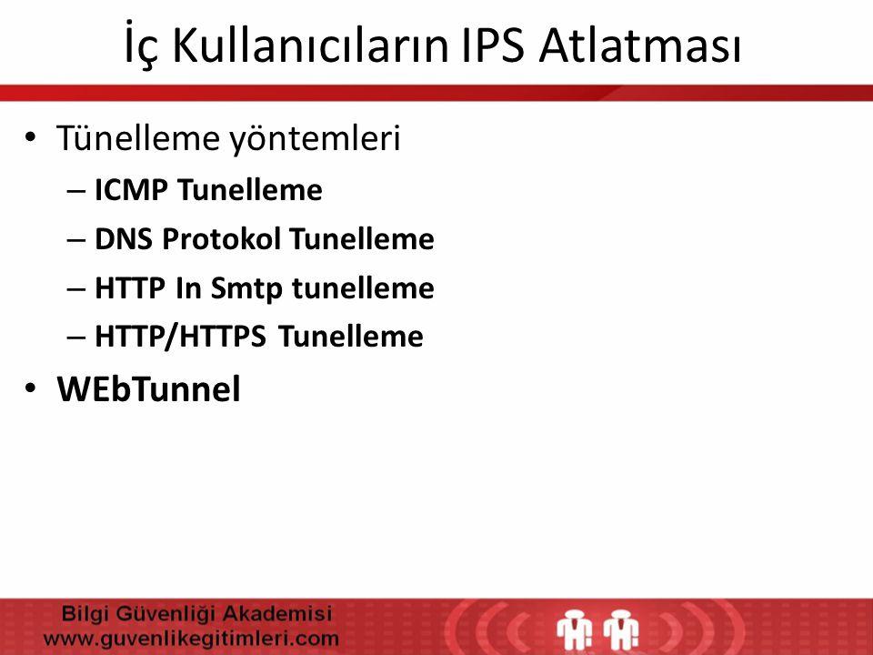İç Kullanıcıların IPS Atlatması • Tünelleme yöntemleri – ICMP Tunelleme – DNS Protokol Tunelleme – HTTP In Smtp tunelleme – HTTP/HTTPS Tunelleme • WEb