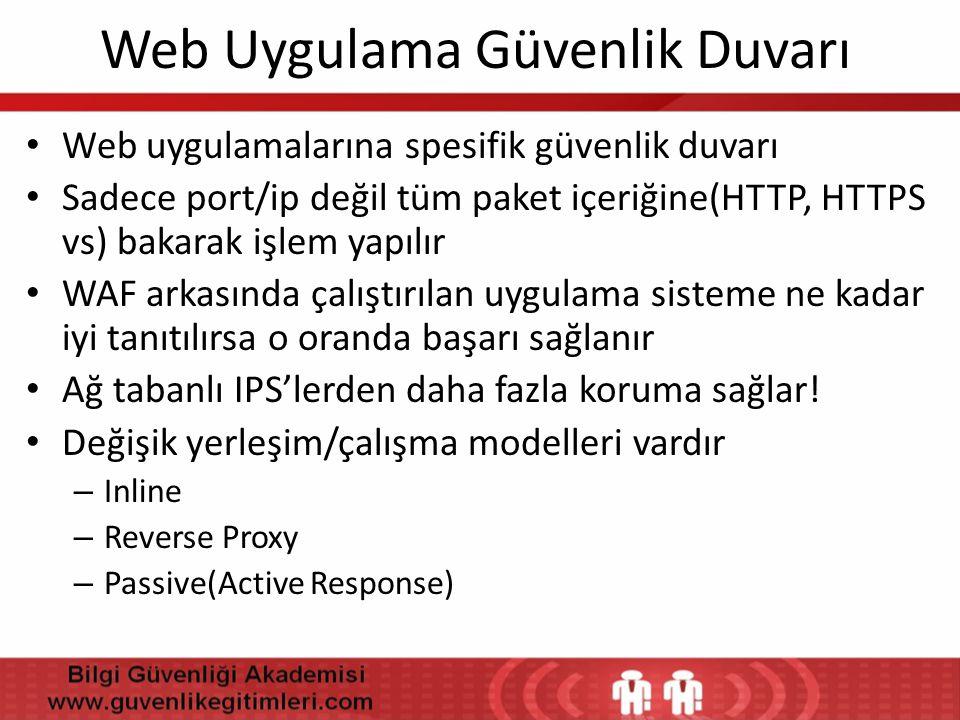 Web Uygulama Güvenlik Duvarı • Web uygulamalarına spesifik güvenlik duvarı • Sadece port/ip değil tüm paket içeriğine(HTTP, HTTPS vs) bakarak işlem ya