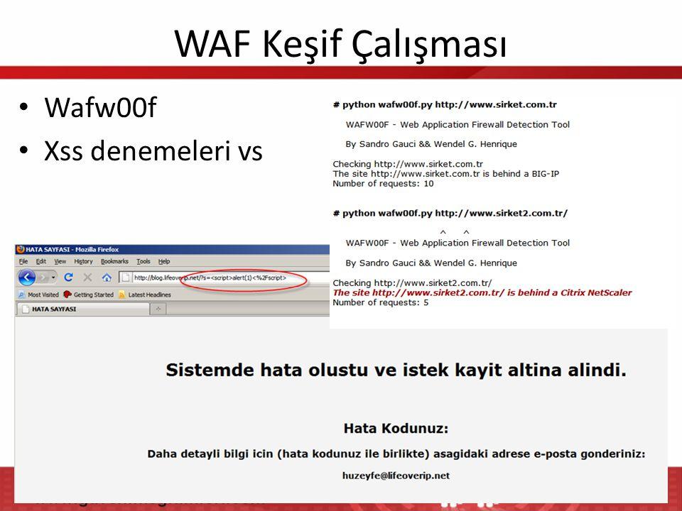 WAF Keşif Çalışması • Wafw00f • Xss denemeleri vs